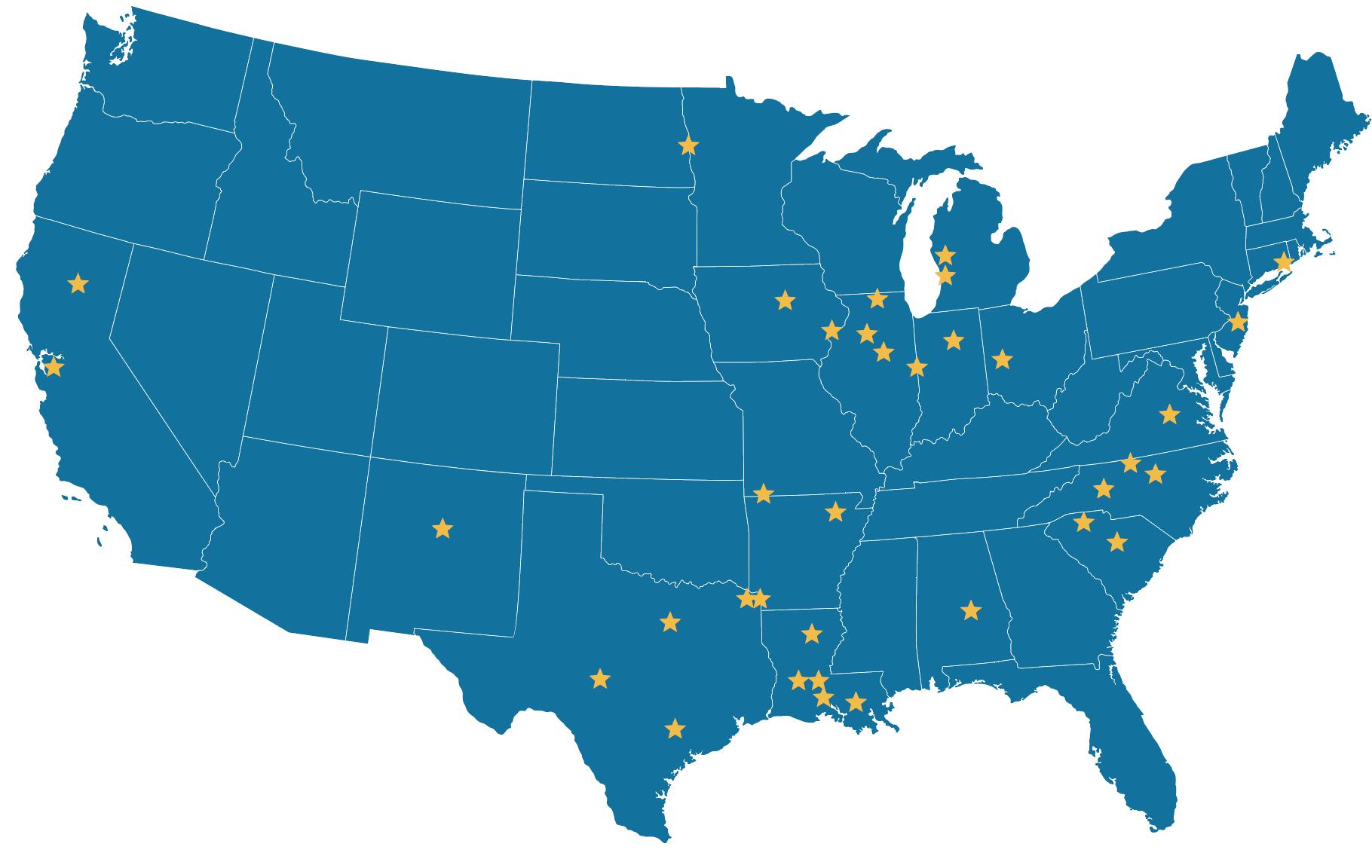 SUR Affiliate Map-
